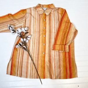 Avenue Striped Button Up Blouse Tunic